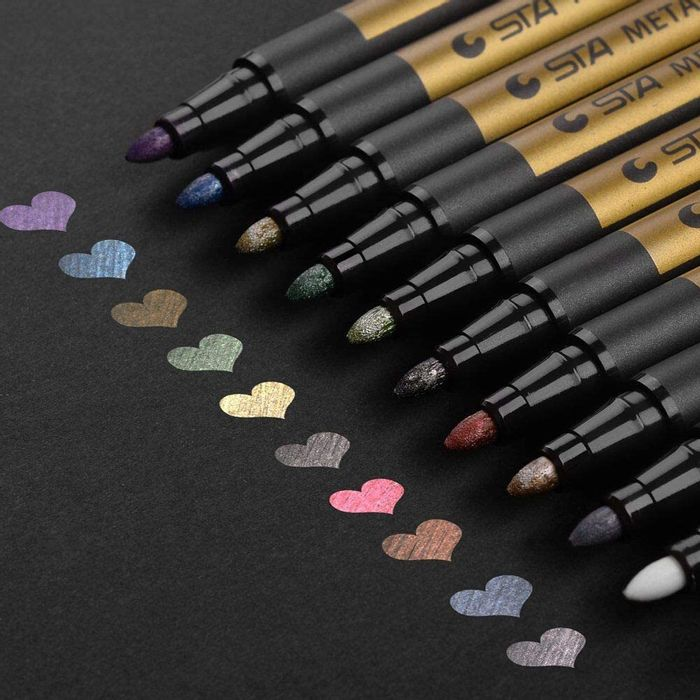 Premium Metallic Marker Pens, Set of 10 Assorted Colors