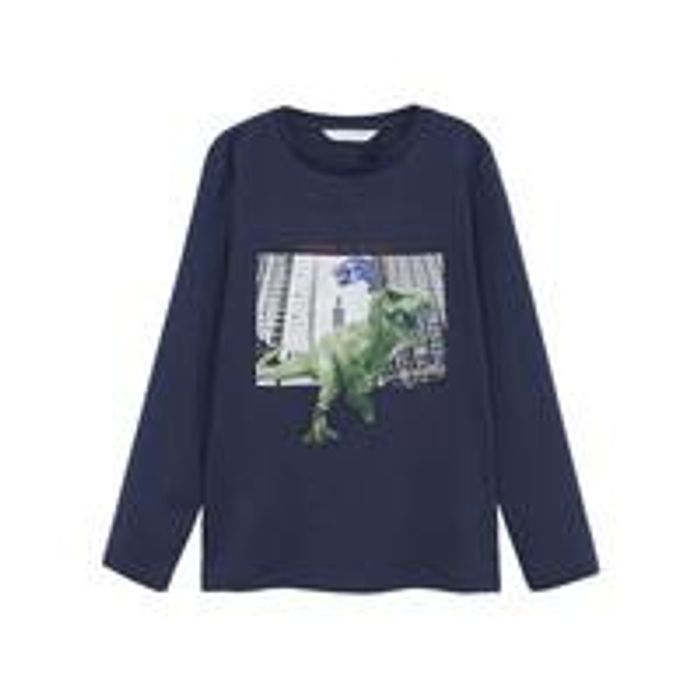 Mango Boys Dino Long Sleeve Tshirt - Navy