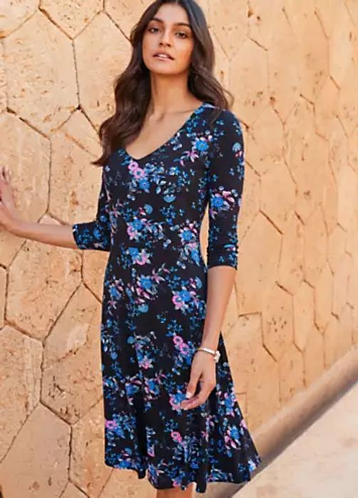Kaleidoscope Floral Print Swing Dress