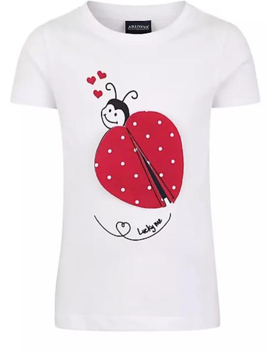 White Kids Ladybird Print T-Shirt by Arizona