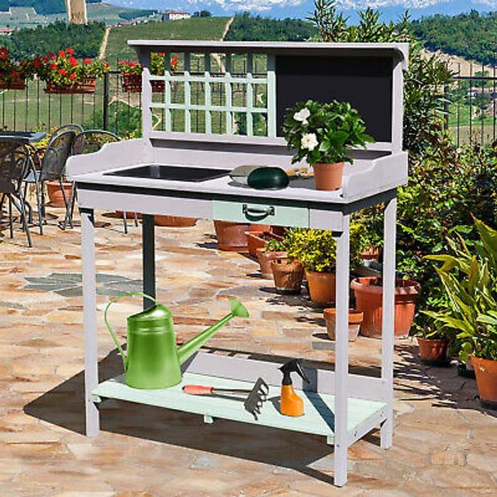 HOMCOM Outdoor Wooden Potting Table