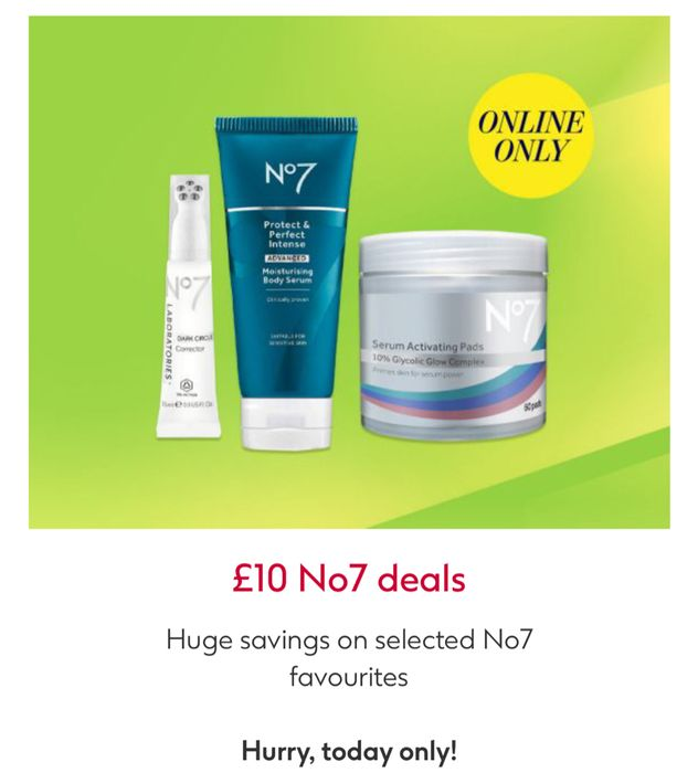 £10 No7 Deals And 3 For 2 On Selected No7