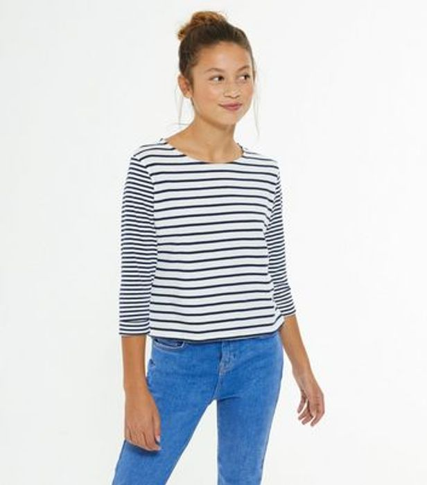 Girls Navy Stripe T-Shirt
