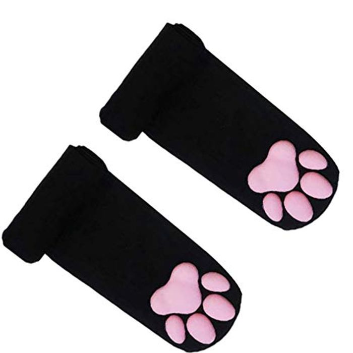 3D Silicone Cat Paw Thigh High Socks with £5 off Coupon