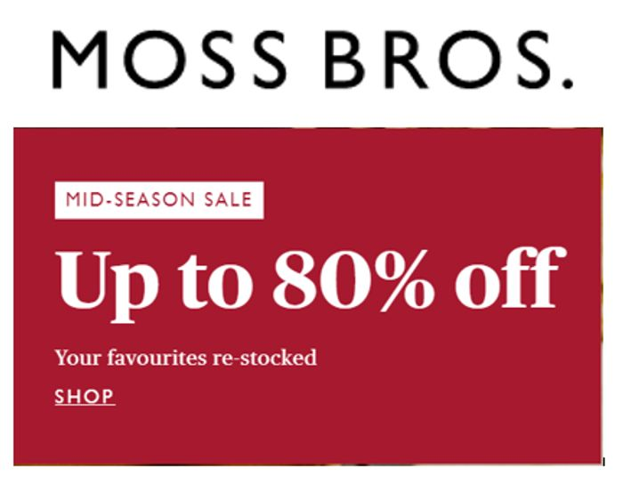 MOSS BROS - Up To 80% Off Sale + Extra 20% Code