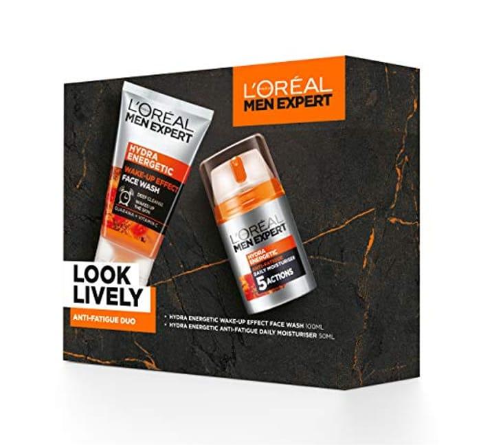 L'Oreal Paris Men Expert Gift Set for Men, Look Lively Anti-Fatigue Skin Duo