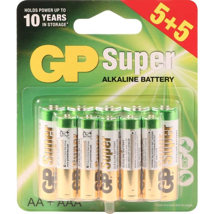 GP Super Alkaline Batteries 5 AA + 5 AAA