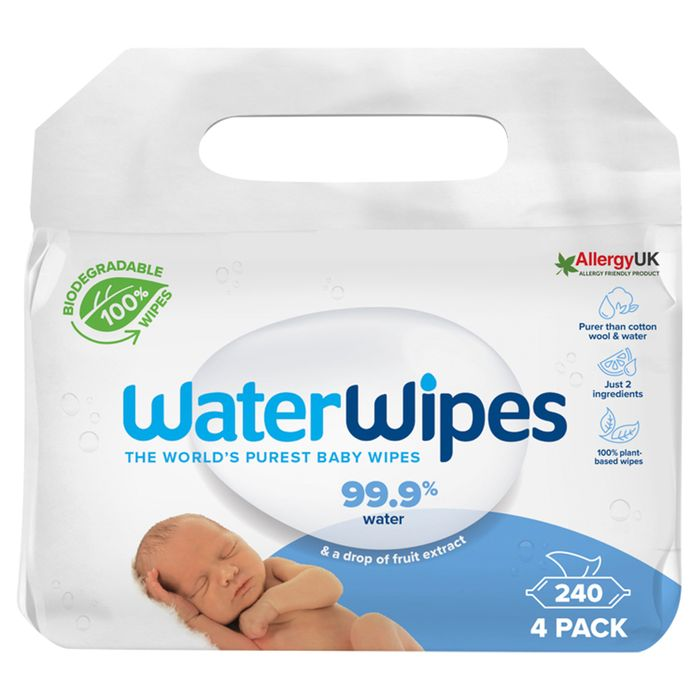 Waterwipes Biodegradable Baby Wipes 60 Pack X 4