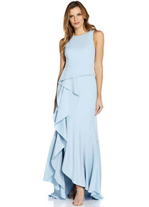 Adrianna Papell Halter Knit Crepe Trumpet Gown