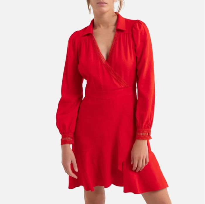 SUNCOO Wrapover Mini Dress with Long Sleeves