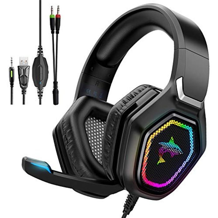 DEAL STACK - Havit RGB Wired Gaming Headset with 50MM Driver, Black + 15% Coupon