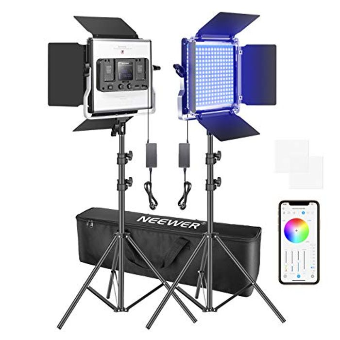 DEAL STACK - Neewer 480 RGB Led Lighting Kit with Stands and Bag + £3 Coupon