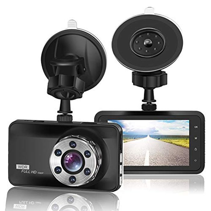 """LIGHTNING DEAL - ORSKEY Dash Cam 1080P Full HD Car Camera with 3.0"""" LCD Display"""
