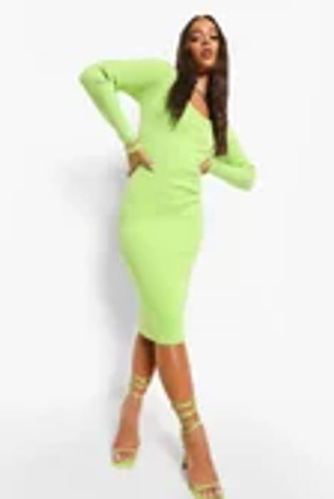 Square Neck Premium Rib Midi Dress Now £17.00 at Boohoo