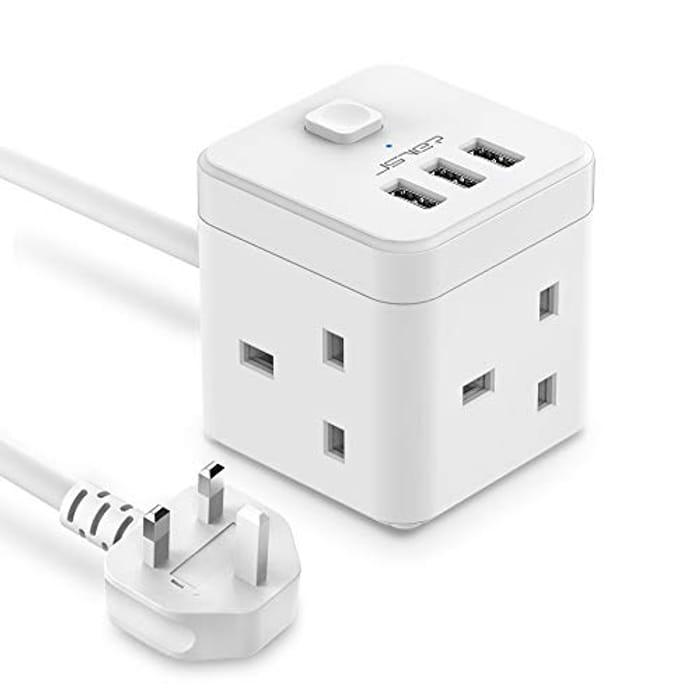 2M Cube Extension Lead Power Socket W/ 3 USB Ports