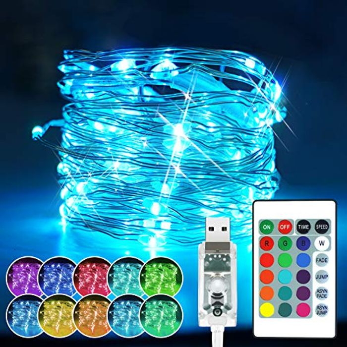 USB Powered 100 LED RGB 16 Colour String Lights with 4 Modes + Remote