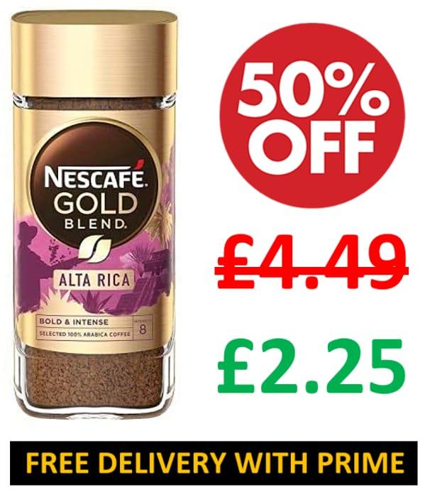 1/2 PRICE - Nescafe Gold Blend Alta Rica Instant Coffee Jar, 100g
