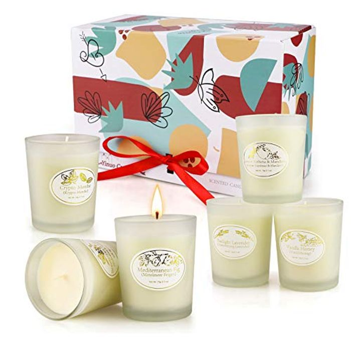 Teplom Scented Candle Frosted Glass Gift Set 6pcs - Only £11.49!