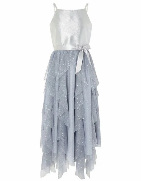 Ruffle Maxi Prom Dress Silver