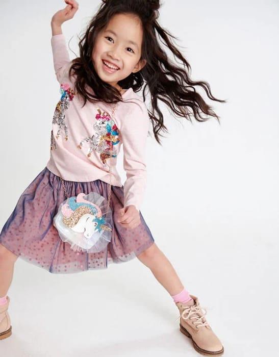 Colour-Block Sequin Skirt Pink