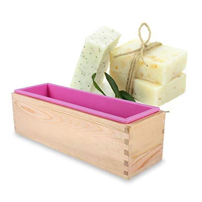 iFCOW Rectangle Wooden Box Silicone Liner Soap Mold - Only £5.27!