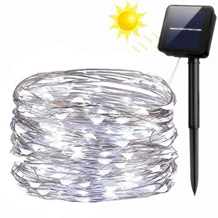 DEAL STACK - FANSIR 100 LED Solar Fairy String Lights (Cool White) + 10% Coupon