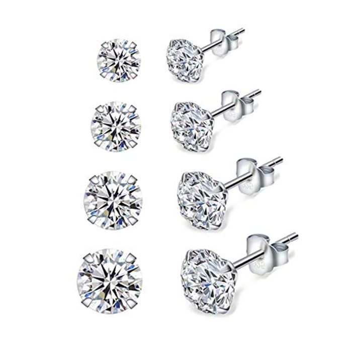 Deal Stack Silver Stud Earrings for Women, 4 Pairs 925 Sterling Silver