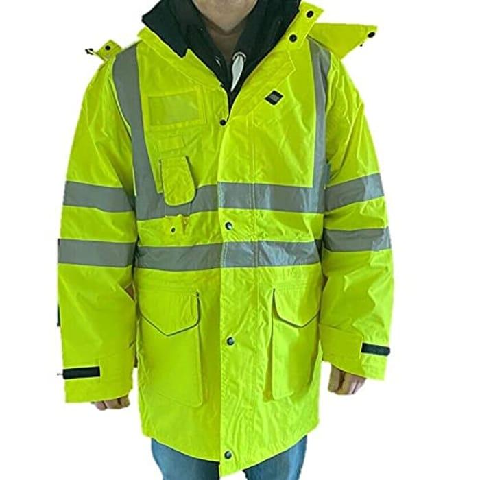 Aqua HI VIS Yellow Humber Waterproof Jacket EN471 Detachable Hood RRP £45.00