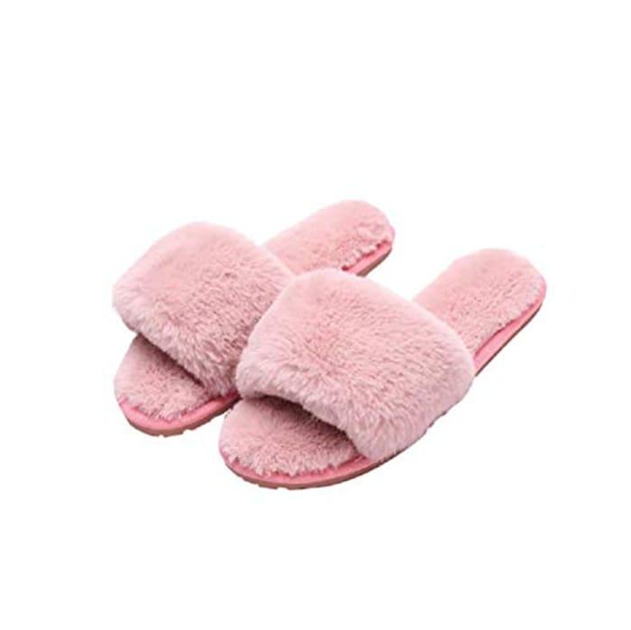 Open Toe Memory Foam Slipper for Women Size 2.5/3.5 Pink