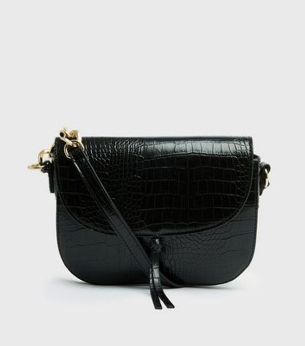 Black Faux Croc Shoulder Bag