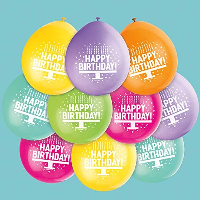 Pack of 10 Assorted Happy Birthday Balloons