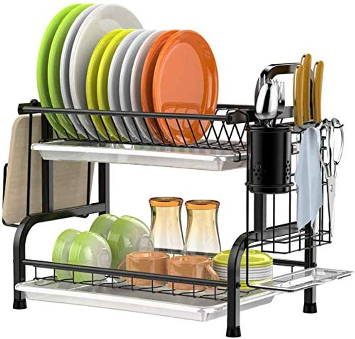 2 Tier Stainless Steel Dish Drying Rack - Only £22.99!