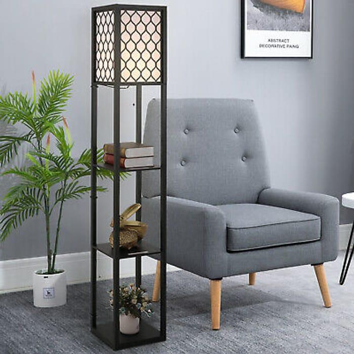 Best Price! Modern Shelf Floor Lamp Light with 4-Tier Open Shelves Wooden