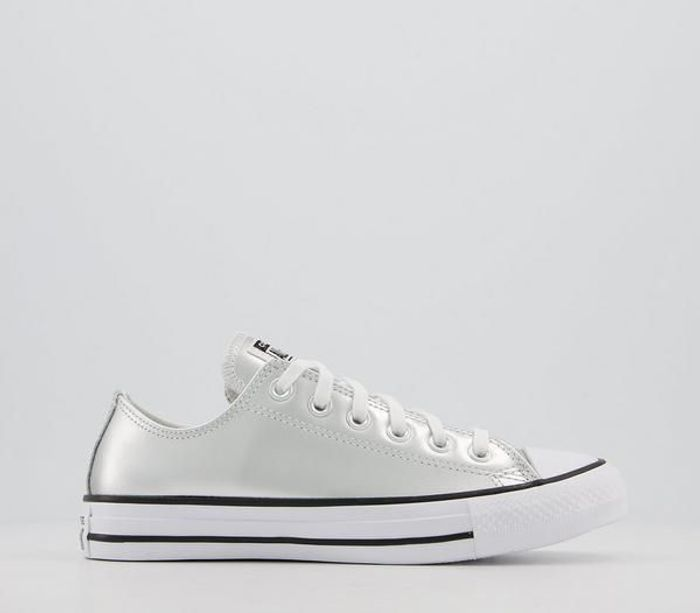 Converse  All Star Low Leather Trainers  Pure Silver Egret Exclusive