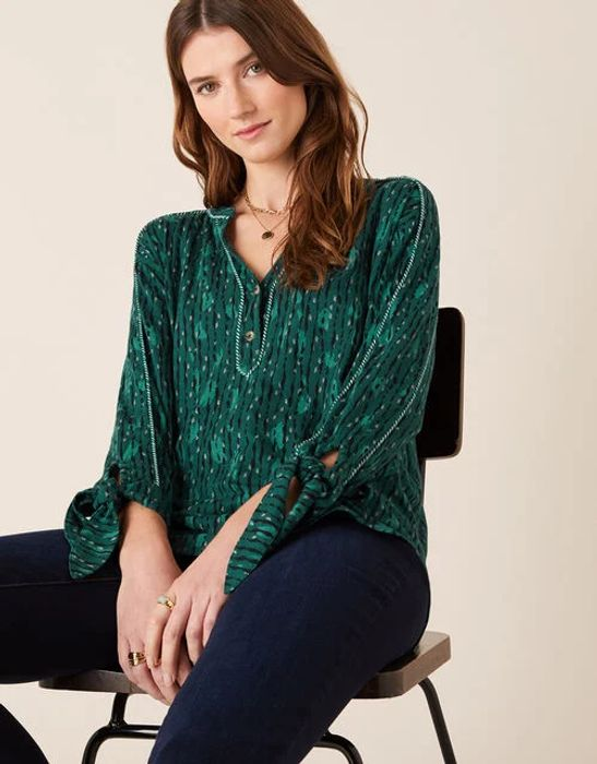 Lisa Printed Longline Shirt Green