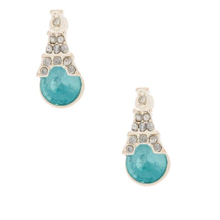 Silver Tone Eiffel Tower Stone Stud Earrings - Blue