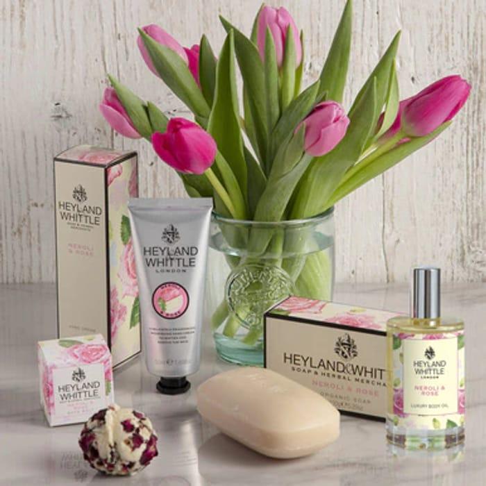 Neroli & Rose Luxury Body Oil, Hand Cream, Organic Soap & Bath Melt Gift Set