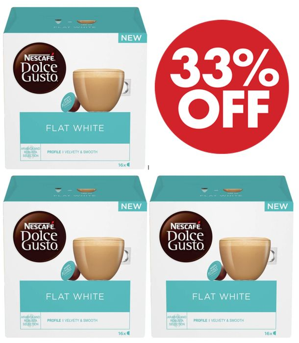 Nescafe Dolce Gusto Flat White Coffee Pods (Pack of 3, Total 48 Capsules)