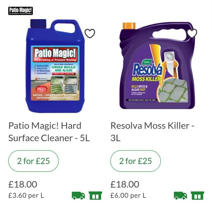 2 for £25 (SAVING £11) on Patio Cleaning 5l