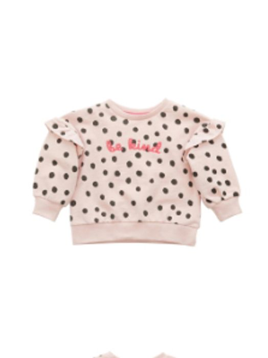 MINOTI Junior Girls Spotty Frill Sweatshirt Pink