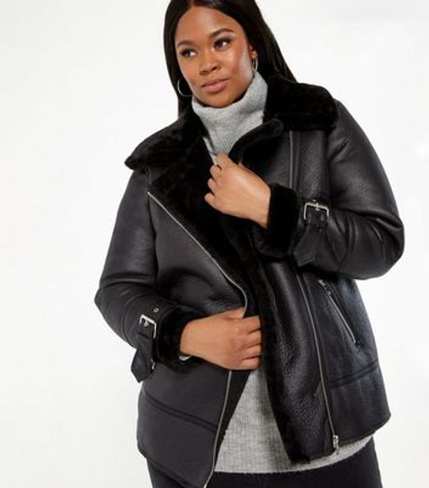 Curves Black Leather-Look Faux Fur Lined Aviator Jacket