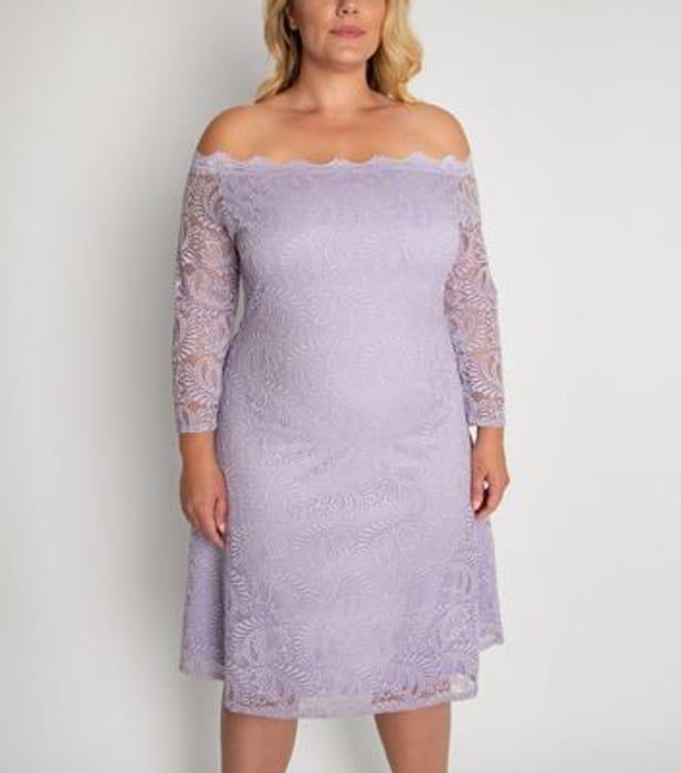 Aarya Curve Lilac Lace Bardot Dress