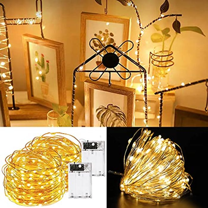 2 Pack 100 LED Waterproof Battery Powered Fairy String Lights 10m with 2 Modes