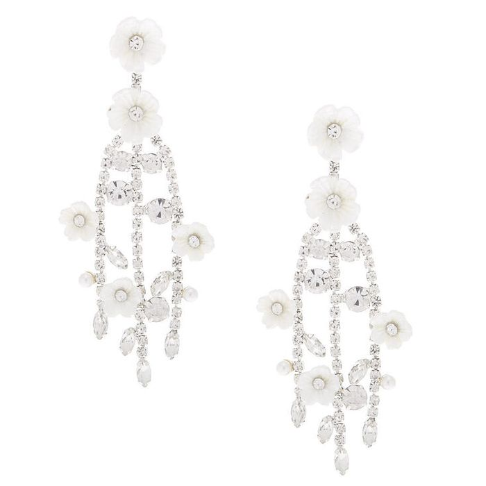 """Silver 2.5"""" Rhinestone Flower Branch Drop Earrings"""
