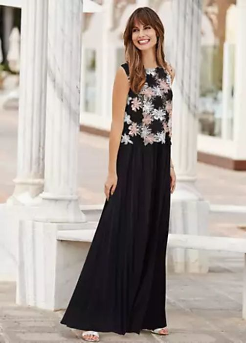 Together Lace & Jersey Maxi Dress with Pleated Skirt