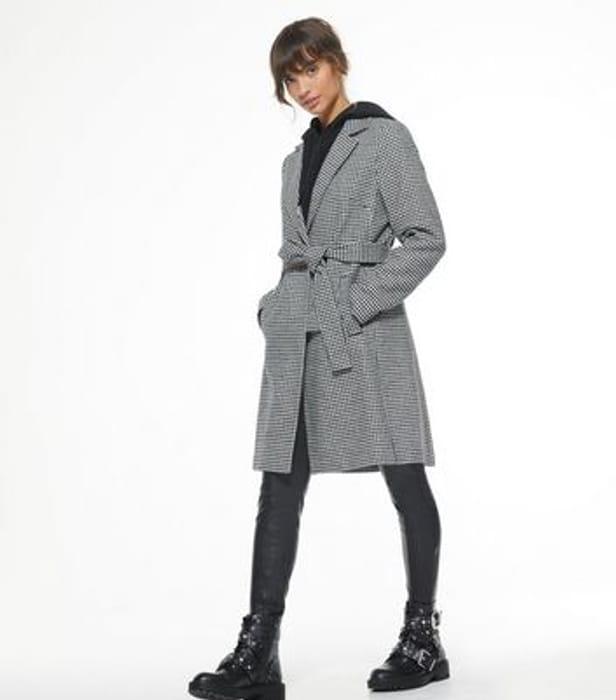 Black Dogtooth Belted Formal Coat