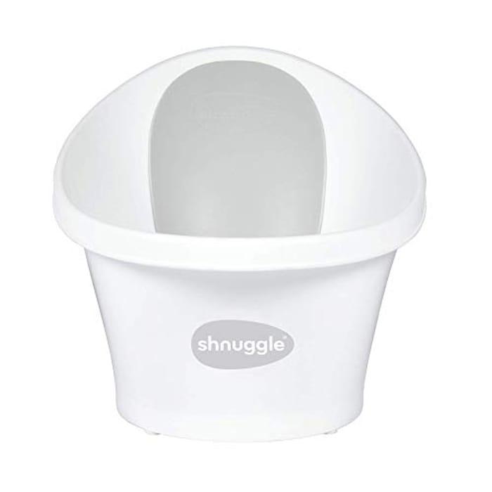 Shnuggle Baby Bath with Plug White with Grey Backrest