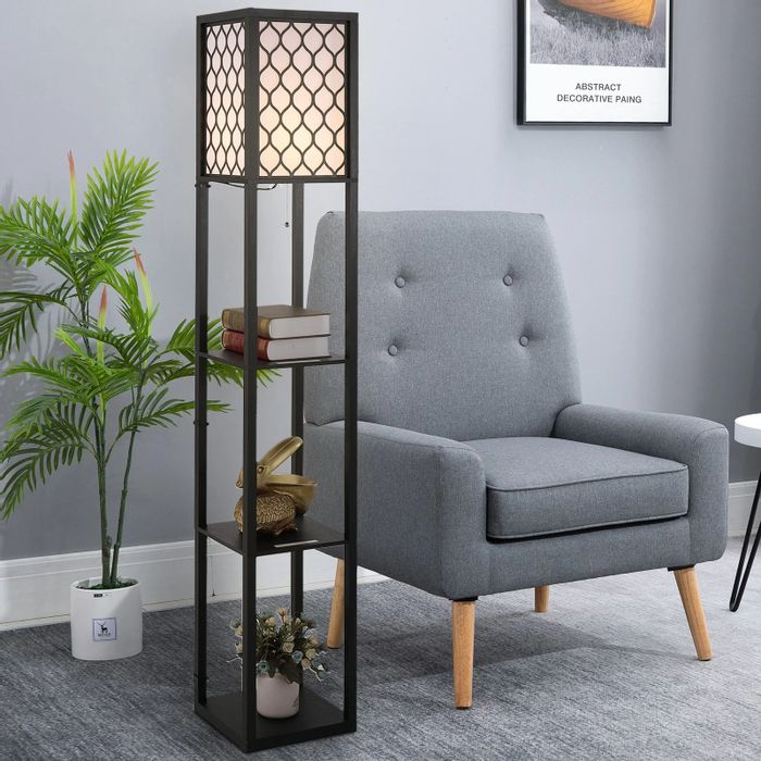 Cheap Shelf Floor Lamp W/4-Tier Open Shelves Wooden at Aosom