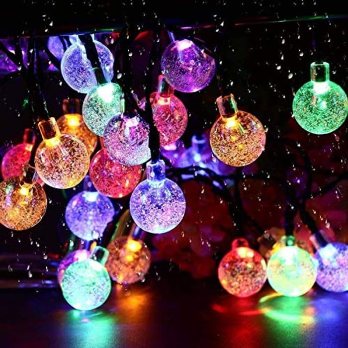 Lightning Deal! Solar Garden Lights, 50 LED 24Ft Outdoor String Lights