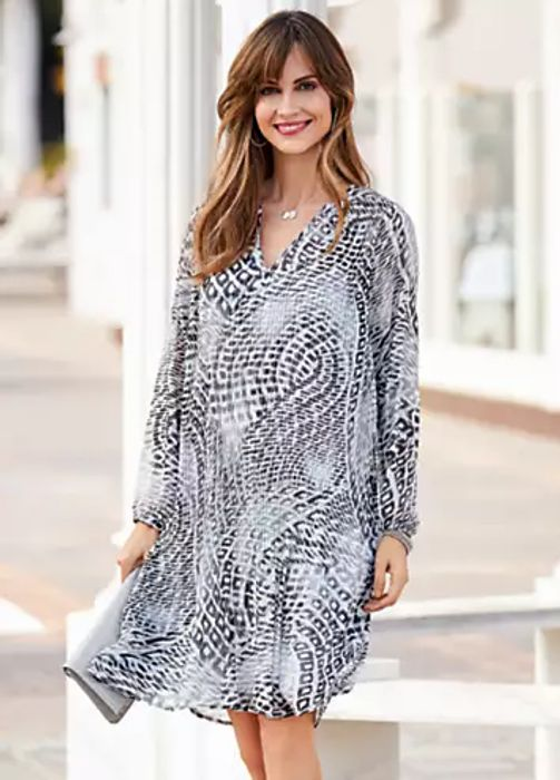 Together Abstract Print Pleat Tunic Dress